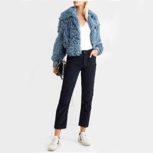 NWT GRLFRND Helena Straight Leg Corduroy Blue Pant